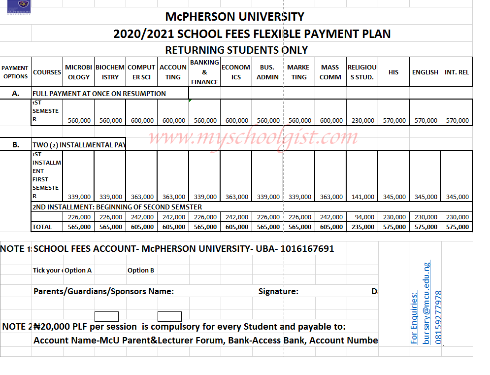 McPherson University School Fees Payment Plan for Returning Students